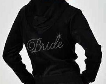 3X Black Rhinestone Bride Velour Hoodie Set - NEW -CLEARANCE