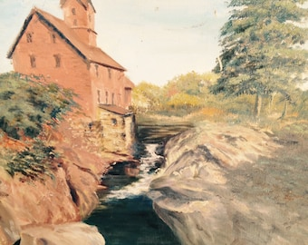 Oil Painting of a Mill, possibly in Kentucky.