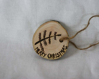 Wooden Christmas ornament, Christmas tree decor, eco Christmas decor, wood burned tree ornament, natural wood branch slice