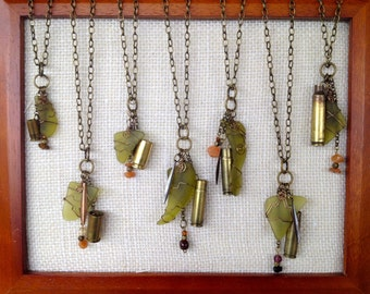 Wire Wrapped Dangle Necklaces - Recycled Glass & Materials - HandCrafted