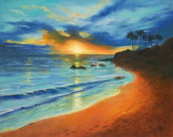 Landscape Painting- Oil on Canvas-  Seascape Painting- On the shores of Maui - Hawaii