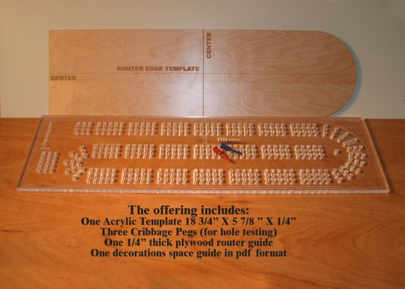 Acrylic cribbage board drilling template 1 4 inch thick clear for Cribbage board drilling templates