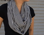 Classic sheer black and white stripped infinity scarf (cowl)