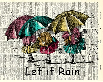 Let it Rain Kids Art Print. Vintage book page art print. Print on book page.