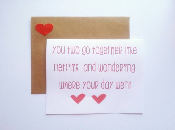 You two go together like...-Funny 'I love you' card- cute Valentine card
