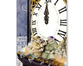 "Greetings Card-Holiday-Christmas-Toys-Tower Clock-Winter-Clock-Grannies-Funny Old Ladies Celebrate Christmas-5x7"" with envelope  No.168"