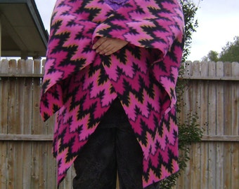 Pink and Black Zig Zag Fleece Wrap