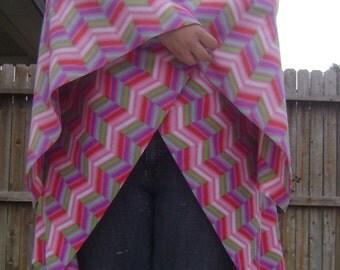 Multi Colored Zig Zags Fleece Wrap