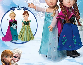 "Simplicity Sewing Pattern 1217 Disney Frozen 18"" Doll Clothes"