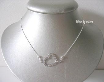 Wedding jewelry or fancy necklace heart rhinestone bridal evening Love