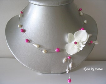 Wedding jewelry  fuchsia necklace orchid and ivory pearl