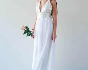 Shira Gown. Halter neck gown with chiffon skirt