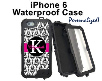 Monogram iPhone Case Personalized iPhone 6 Black and White Damask Monogrammed Phone Case iPhone 6 Plus Water Resistant Heavy Duty Case #2002