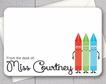 Teacher Note Cards - 12pk, Personalized Flat Note Cards, Language Arts Teacher Gifts, Printed with Envelopes (NC1)