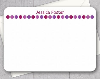 Purple Polka Dot Note Cards - 12pk, Custom Flat Note Cards, Printed with Envelopes (NC18)