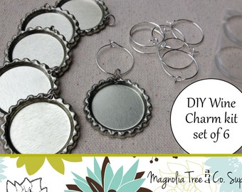 Wine Charm Kit, Bottle Cap Kit, DIY Wine Charms, Custom Wine Charms, Wine Rings, Makes 6 wine charms (KF125)