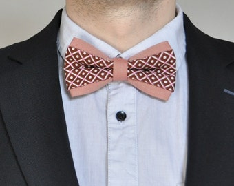 Salmon Bowtie. Chestnut Bow Tie. Salmon Chocolate brown men's bow tie Brown pre-tied bow tie Bow tie for men Wedding bow tie Pastel bow tie