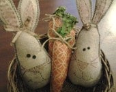 New handmade coffee stained Easter bunny rabbit and carrot bowl fillers, decorations