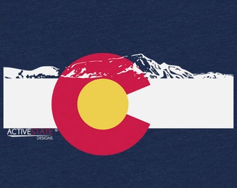 Women's Colorado Flag T-Shirt, V-Neck, and Tank Top w/ Rocky Mountain Silhouette
