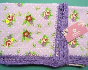 Floral Bouquet Flannelette Baby Blanket With Crocheted Edge
