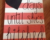 Days Until She's Hitched Chalkboard Countdown Canvas