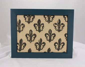Blue Teal in Color This Push Pin Board with Printed Burlap