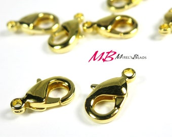 25 Gold Plated Lobster Claw Clasp, 10x6mm