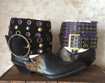 Black upcycled western cowboy boots women's size 7