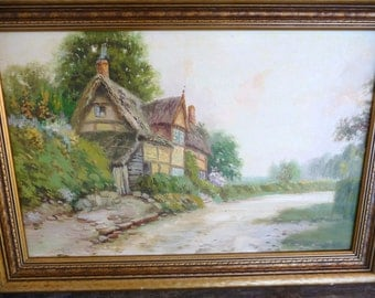 """Old British Countryside, Thatched Cottage Landscape by Reginald Franklin Selfe """"The Cottage""""  Original Oil Painting 1950's"""