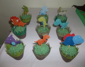 Dinosaur cupcake toppers/ Birthday / Baby Shower/ Set fo 12