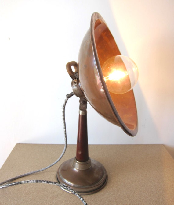 Vintage Industrial Copper Table Light Large Copper Space