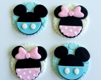 Mickey or Minnie Fondant Cupcake Toppers