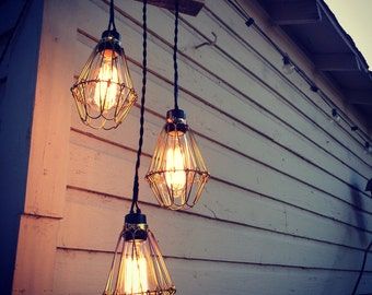 Three Bulb Edison Chandelier - Outdoor Rated - Custom