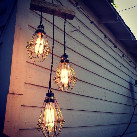 Chandelier With Edison Bulbs: Three Bulb Edison Chandelier Outdoor Rated Custom