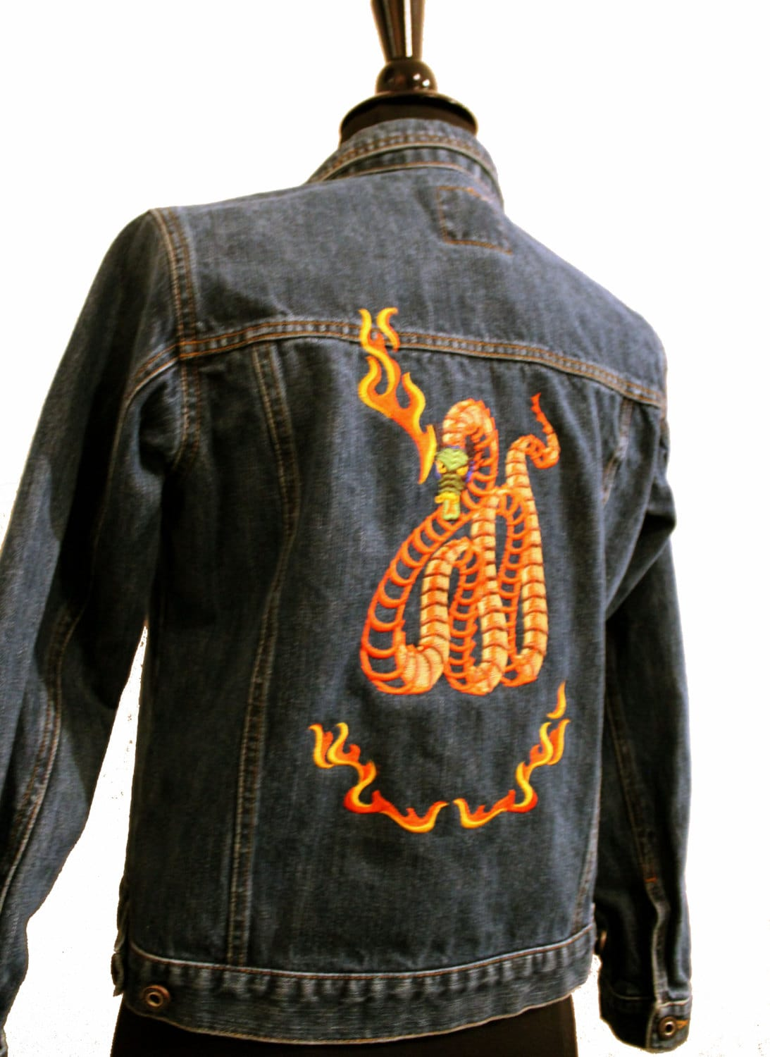 Youth jean jacket xl dragon embroidery from our