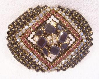 Handmade Belt Buckle with Clear, Jet Black, Smokey Topaz and Hematite Rhinestones. Vintage Jewelry. Stunning!
