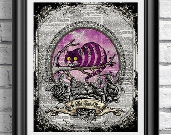 Dictionary art print alice in wonderland cheshire cat quote. Art print poster on antique dictionary book page wall decor mixed media
