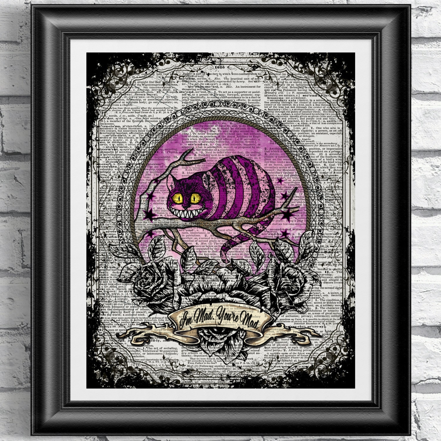 Alice In Wonderland Wall Decor Dictionary Art Print Alice In Wonderland Cheshire Cat Quote