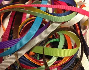 3/8 Grosgrain Ribbon, Grab Bag, Solid color mix, ribbon grab bag, ribbon bundle, craft ribbon, lined hair clips, scrapbook ribbon, ribbon