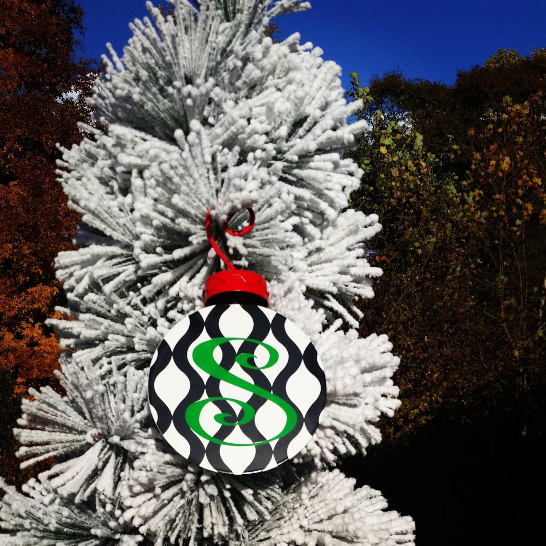 Monogrammed flat metal christmas ornaments by sassybysacha