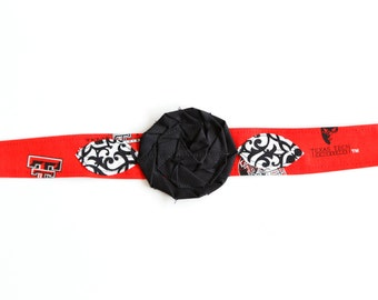 Wreck 'em Tech - Fabric Flower Headband, Headband with Flower, Fabric Rosette Headband, Fabric Headwrap, Texas Tech Headband
