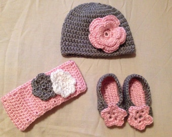 Baby Hat, headband and bootie set