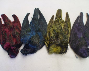 4 pack assorted colors starling bird skins- fly fishing, crafts, etc
