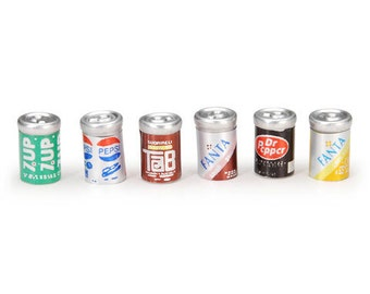 Soda Pop Cans Dollhouse Kitchen Food Miniature Minuatures Set of 6