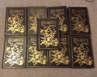 Antique 1892 - Bulwer's Works Volumes 1,2,3,4,5,6,7,8,9