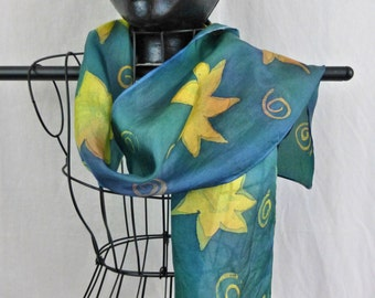 Hand painted sunflowers silk scarf and hand dyed turquoise blue Habotai silk scarf Free shipping US and Canada made to order