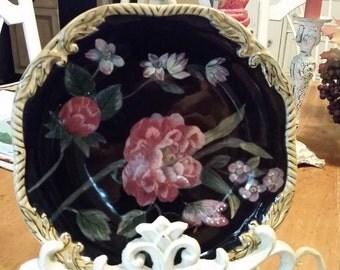 "Sweet Black/Floral Ceramic Plate..........81/2"" diameter"