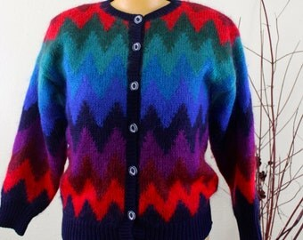 Vintage Susan Bristol Chevron Mohair Sweater Small Vintage Cardigan