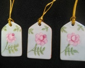 "Gift tags Pink Rose aqua background green leaves gold trim Holiday gift set, Porcelain  2"" x 1 1/4"" hand painted  B Marsh  kiln fired"