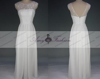 Illusion Neckline Cap Sleeve Lace And Chiffon Bridesmaid Dress Long Ivory Bridesmaid Dresses Prom Dress Wedding Party Dress Plunge Back